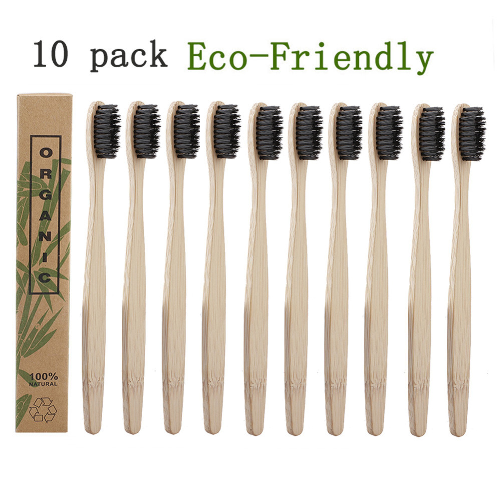 10pcs/Set Natural Pure Bamboo Toothbrush Soft-bristle Charcoal Square Wooden Handle Toothbrushes Dental Care Tools image