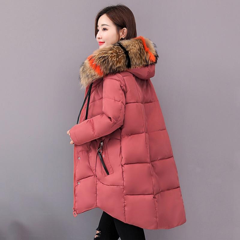 2020 winter women long jacket solid slim parka mujer Korean style plus size hooded fur collar thick outwear women's winter coat|Parkas| - AliExpress