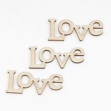 10 adet lazer kesim aşk ahşap el sanatları DIY karalama defteri ahşap dilimleri süsleme ev dekorasyonu el yapımı süsler