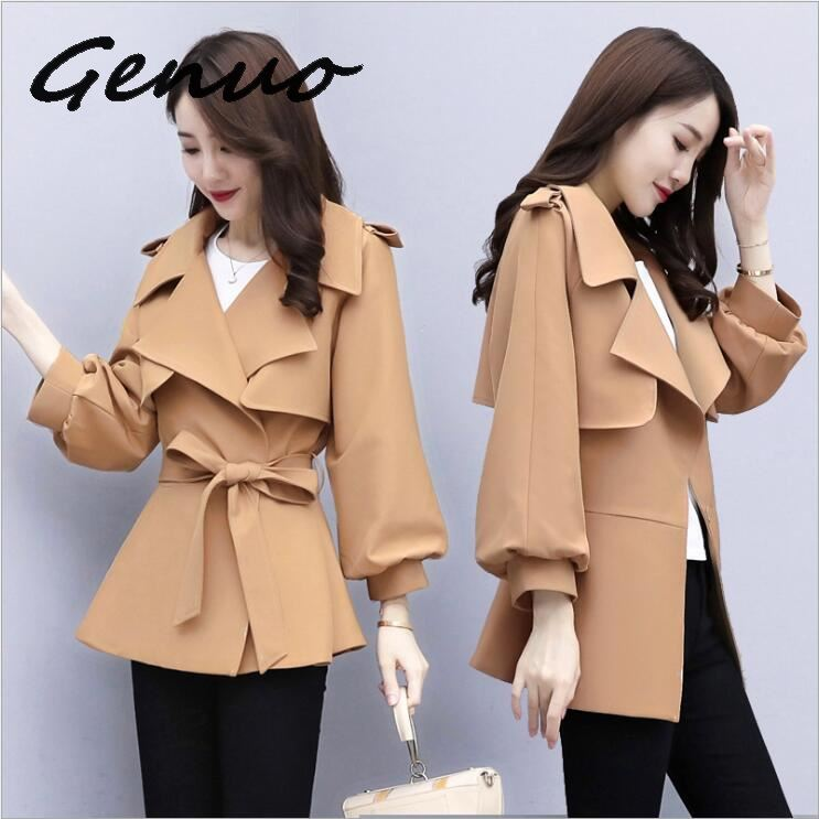 Genuo New 2019 Winter Woman Turn Down Collar Slim Elegant Jackets Lantern Sleeve Female Short Blends Coat
