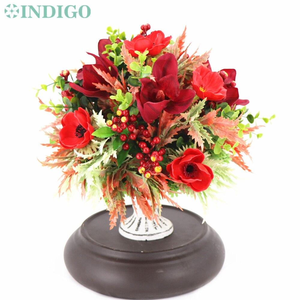 INDIGO conçu-1 ensemble rouge anémone Cymbidium noël fleur Arrangement bonsaï Bouquet Table pièce maîtresse cadeau livraison gratuite