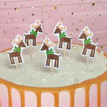 Omilut 18pcs Christmas Birthday Cake Topper Moose Cupcake Party Supplies Kids Merry Decor