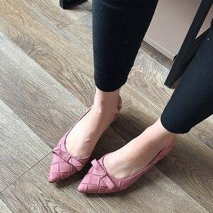 Image 5 - BEYARNE Toe Women Bowtie Pumps Spring Autumn Slip On Woman DOrsay Low Heel Pumps Shoes Ladies Spike Heels Single Shoes
