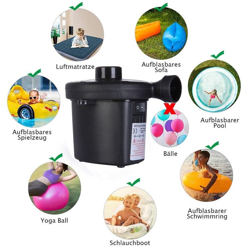 Elektrische Luftpumpe für luftmatratze, Deflate Elektrische Pump mit 11 Luftdüse für aufblasbare Matratze,Sofa,Luftmatratze Pool