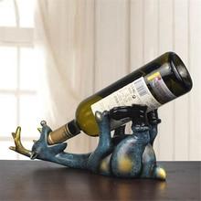 Resin Elk Wine Bottle Holder Figurines European Creative Lying Deer Ornament Animal Wine Rack Craft Decoration
