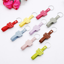 19*126mm Lovely Cat Face Pattern Keychain Women Hangbags Key Holder Rings Leather Chain