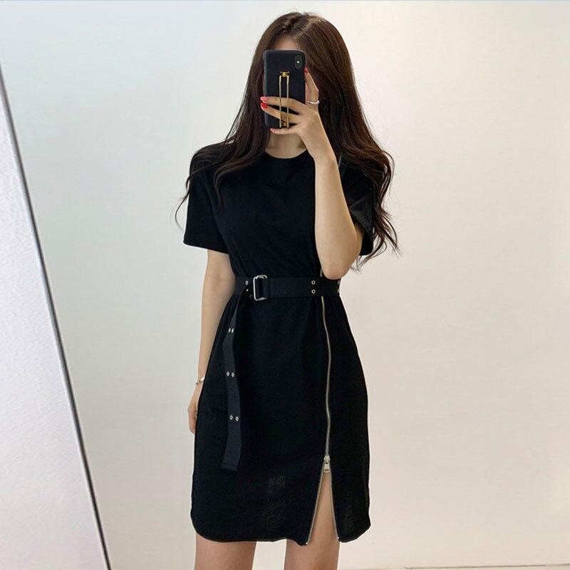 Short Sleeve Women Dress 2020 Summer Korean Chic Retro Zipper Split Shirt Dress Wild Mid-length Lace-up Waist Slim Dress BW218