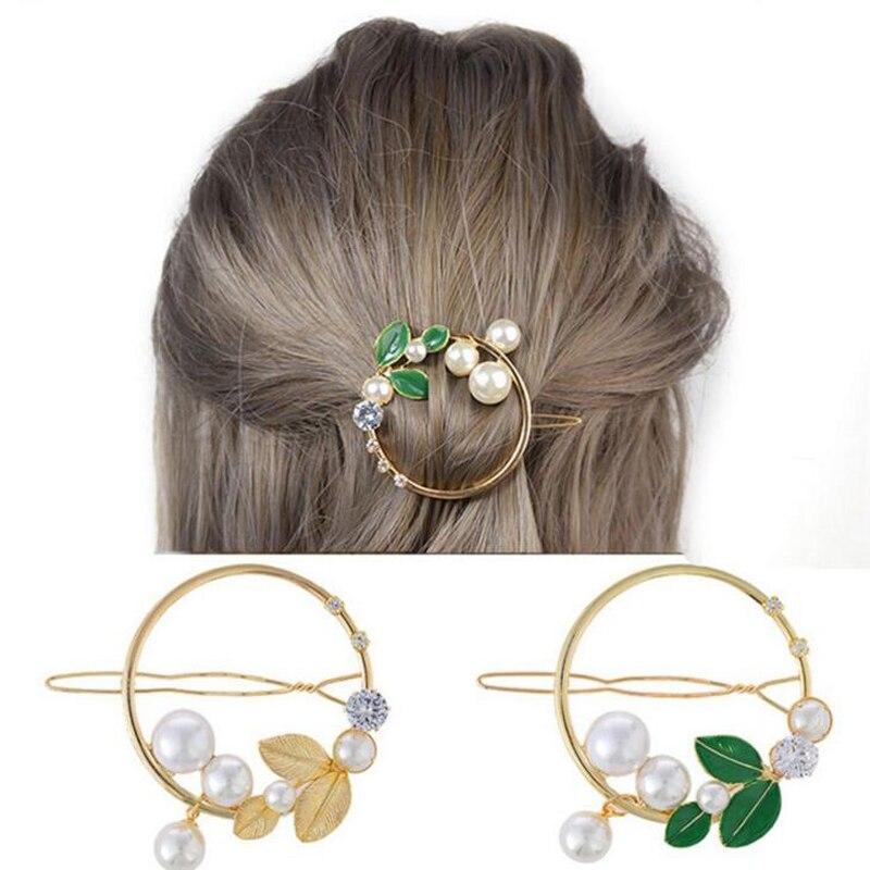 Листья заколки для волос для девочек модный, жемчужный бисер кристалл милые женские боковые заколки для волос круглый головной убор