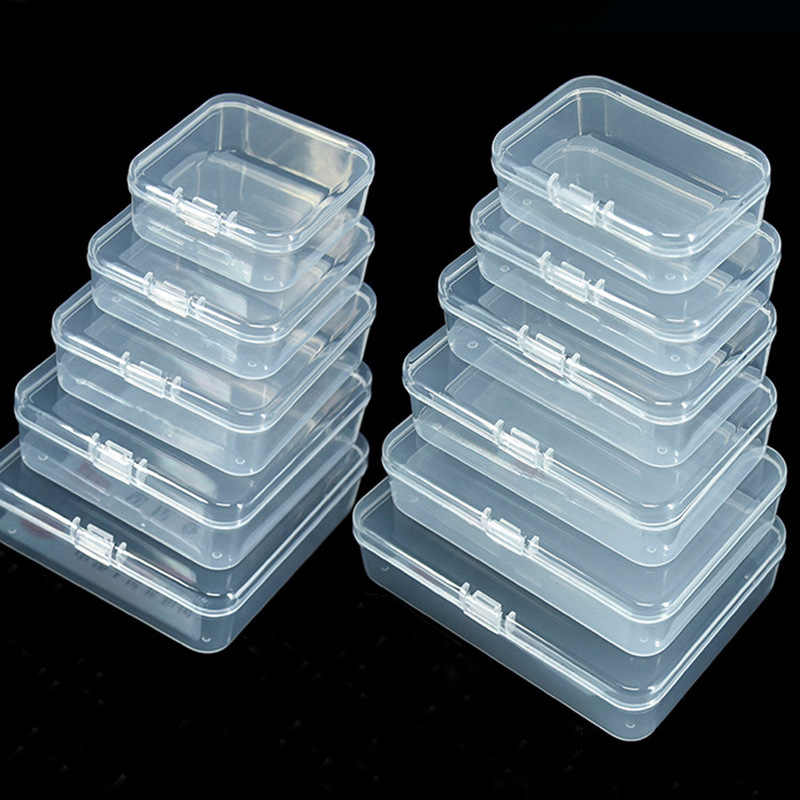 4 Sizes Clear Lidded Small Plastic Box For Trifles Parts Tools Storage Box Jewelry Display Box Screw Case Beads Container New