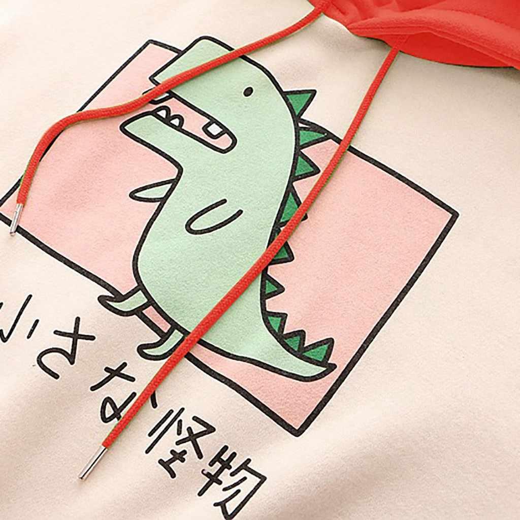 Fashion Women Sweatshirt Casual Print Long Sleeve Splice Dinosaur hoodies Sweatshirt Tops ropa mujer толстовка женская