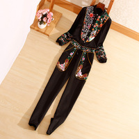 New style autumn Women jumpsuits Chinese style fashion long sleeve embroidery elegant slim lady black Rompers S XL