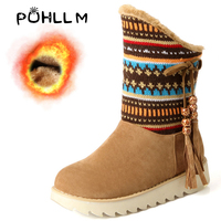 PUHLLM Snow Boots Women's Ankle Boot Short Plush Ladies Shoes Woman Warm Winter Fringe Shoes Large size 34 43 Boots Shoes F52