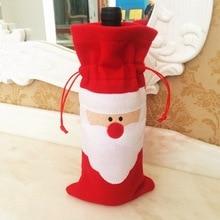 цена на 13*32cm Santa wine bottle bag Christmas wine bottle bag Red husband wine bottle cover