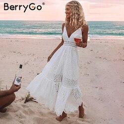 BerryGo, белое, жемчужное, сексуальное женское летнее платье, 2019, выдалбливают, вышивка, макси, хлопок, платья, вечерние, длинные, для девушек, ...