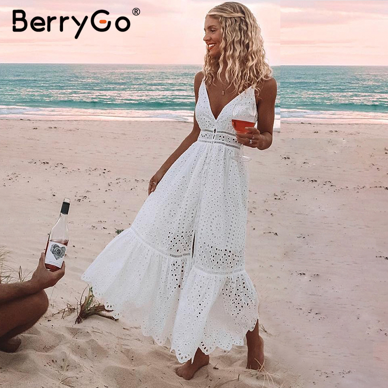 BerryGo White pearls <font><b>sexy</b></font> <font><b>women</b></font> summer <font><b>dress</b></font> <font><b>2019</b></font> Hollow out embroidery maxi cotton <font><b>dresses</b></font> Evening party long ladies vestidos image