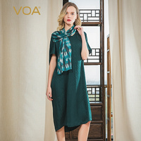 VOA 22mm Jacquard Real Silk Dark Green V neck Hit Material Leaflet Joint Multi Way Loose Sleeve Loose Fit Dress A10821