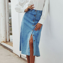 Summer women Elegant vintage long skirts womens 2020 retro Denim Women's Washed