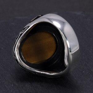 Image 4 - ขนาดใหญ่925 Sterling Silver Signetแหวนผู้ชายคำElif VavหินธรรมชาติสีดำOnyx Tiger Eyesตุรกีอัลลอฮ์เครื่องประดับ