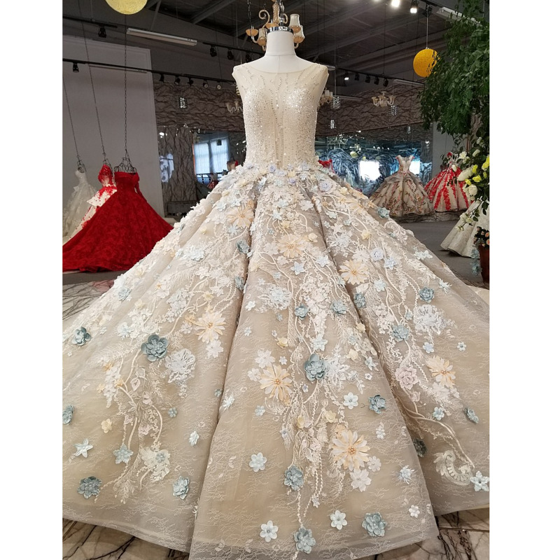 Evening-Dress Ball-Gown 3d-Flowers Long-Train Sleeveless O-Neck Lace-Up with 100%Real