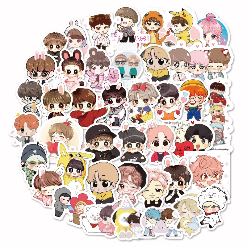 40pcs Kpop Stickers Green Stitch Cool Cute Girl S Skateboard Waterproof Motorcycle Unicorn Anime Kpop Bangtan Stickers Kids Toys