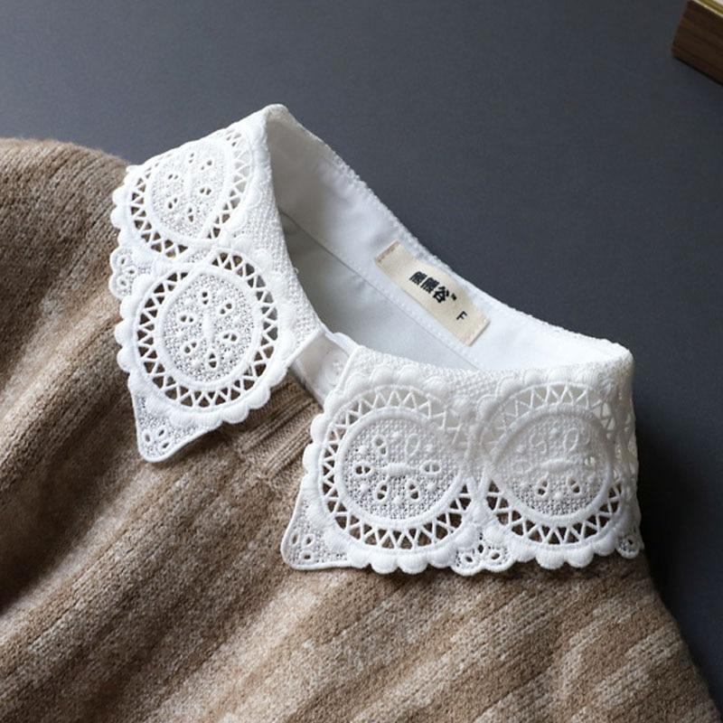 Elegant Fake Collar Lace Womens False Collar Shirt White Detachable Shirt Collars For Women Lapel Blouse Top Shirt Accessories