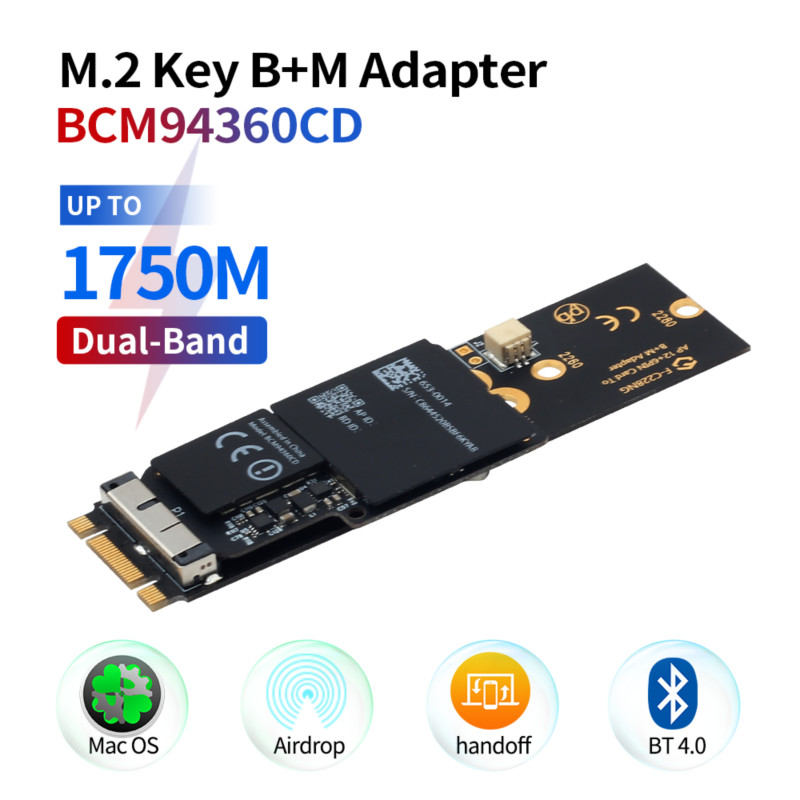 1750Mbps BCM94360CD Wifi Card 12+6 Pin Bluetooth 4.0 Dual Band Module To M.2 NGFF Key M Wireless Adapter For Hackintosh macOS(China)