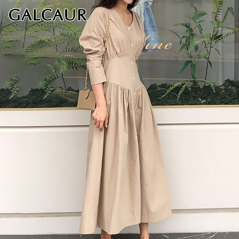 GALCAUR Casual Dress For Women V Neck Long Sleeve High Waist Ruched A-line Korean Dresses Female 2019 Autumn New Fashion Clothes