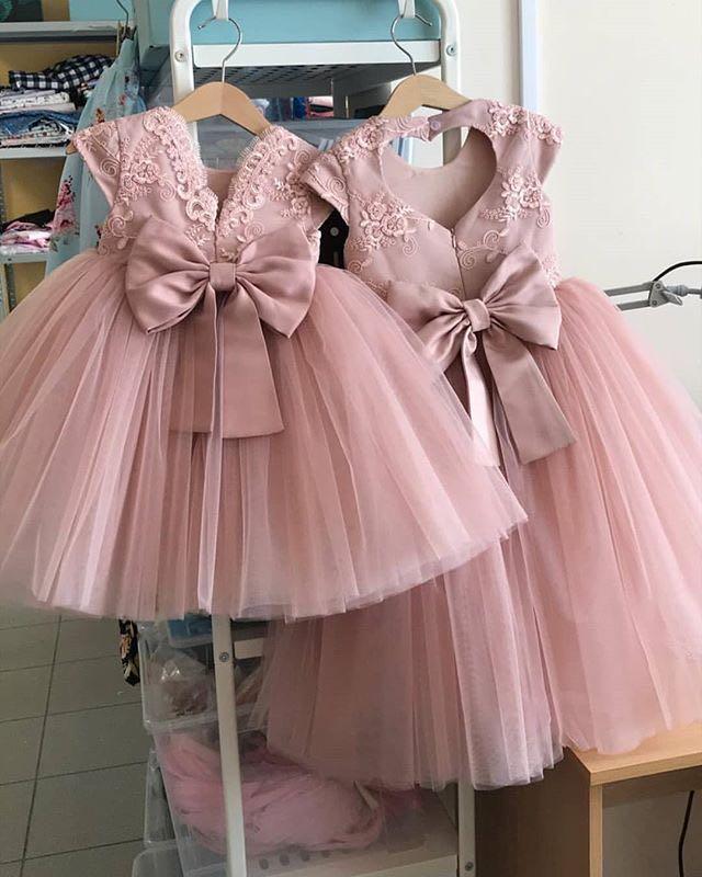 Heart Back  Pink Lace Knee Length Girls Birthday Dresses Ball Gowns Flower Girls Backless Pink Dress Girl Celebration Dresses