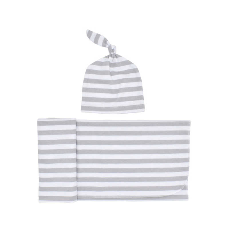 2 unids/set manta de bebé Swaddle + gorra de algodón raya Linda manta de bebé saco de dormir para bebés recién nacidos Dropshipping