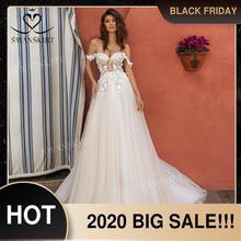 Querida 3d flores vestido de casamento 2020 fora do ombro tule a linha princesa vestido de noiva swanskirt uz40 ilusão
