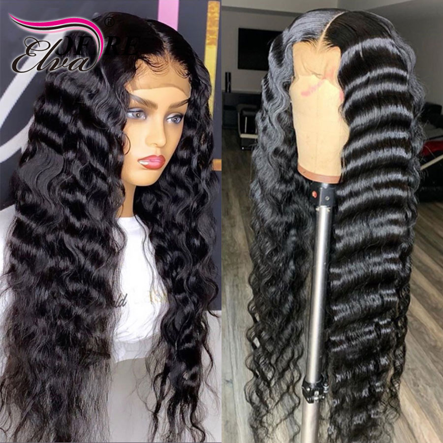 Transparent Lace Wig Skin Melt Pre Plucked Lace Front Human Hair Wigs Elva Hair 13x6 Part Human Hair Wigs With Baby Hair Remy
