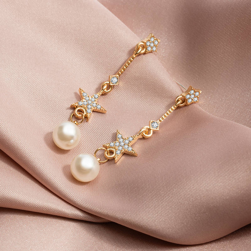 New Korean Simple Pearl Metal Long Drop Earrings for Women Geometric Crystal Star Gold Earing 2020 Fashion Brincos Party Jewelry