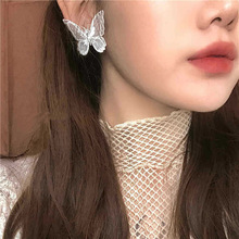 Butterfly Earrings 2020 Trendy Jewelry Retro Double Layer Embroidery Organza Three-dimensional Lace Earring