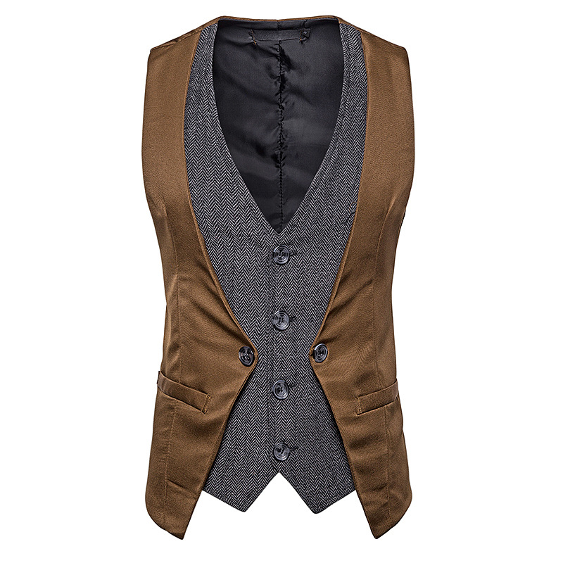Vest Blazers Stage-Dress Wedding Party Fake Slim Two-Pieces Jacket Hipster Gentleman