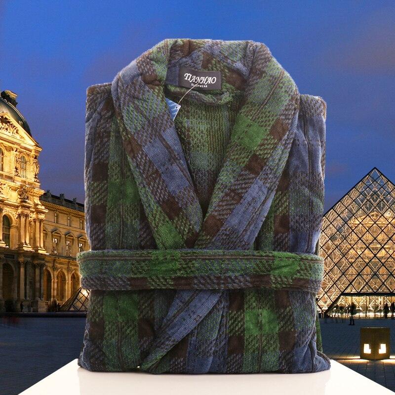 Men's Winter Bathrobe Thick Sleepwear Shawl Bathrobe Home Clothes Long Sleeve Robe Coat Bath Robe Peignoir Homme Peignoir Homme