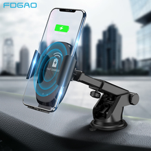 FDGAO 10W Wireless Car Charger Automatic Clamping QI Fast Charging Car Mount Phone Holder for iPhone X XS XR 8 Samsung S10 S9 S8