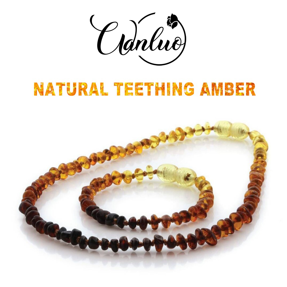 WL Certified Authenticity Genuine Baltic Amber Teething Necklace Bracelet For Babies Natural Amber Beads Jewelry Sets For Baby