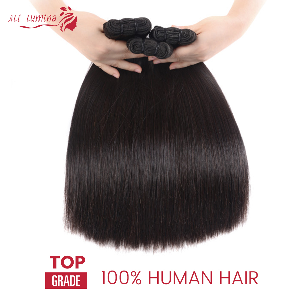 Double Drawn Straight Hair Bundles With Closure Ali Lumina 2