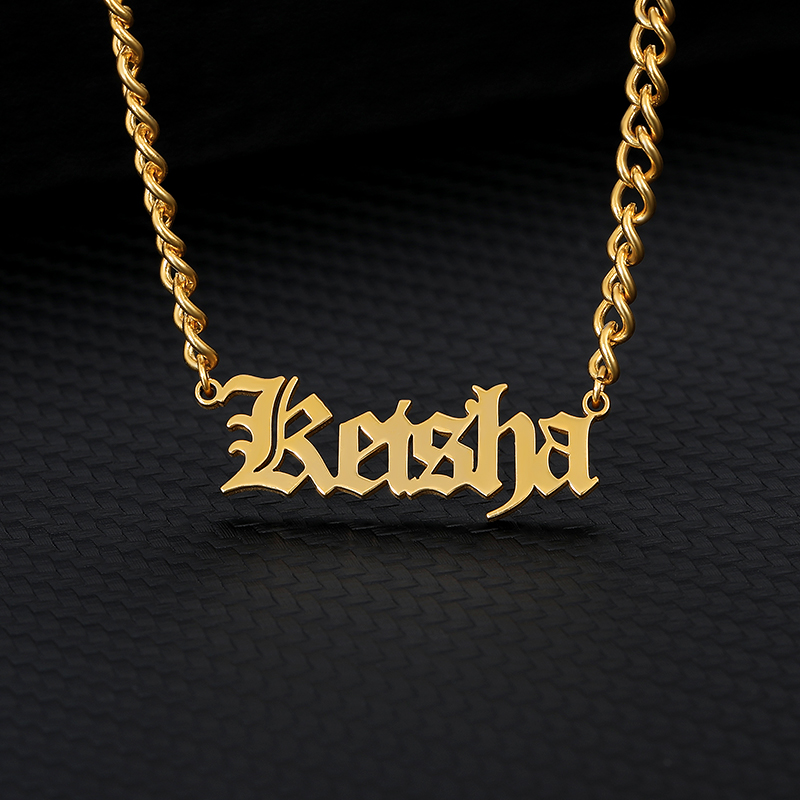 Pretty Custom Name Necklace For Women Stainless Steel Old English Necklace Gold Chain Choker Nameplate Necklace Boho Bff Jewelry