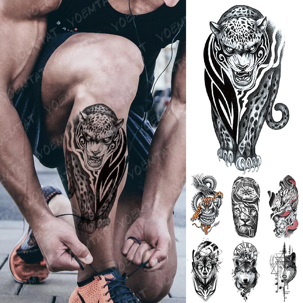 Waterproof Temporary Tattoo Sticker Totem Leopard Flash Tattoos Dragon Tiger Wolf Lion Body Art Arm Fake Tatoo Women Men