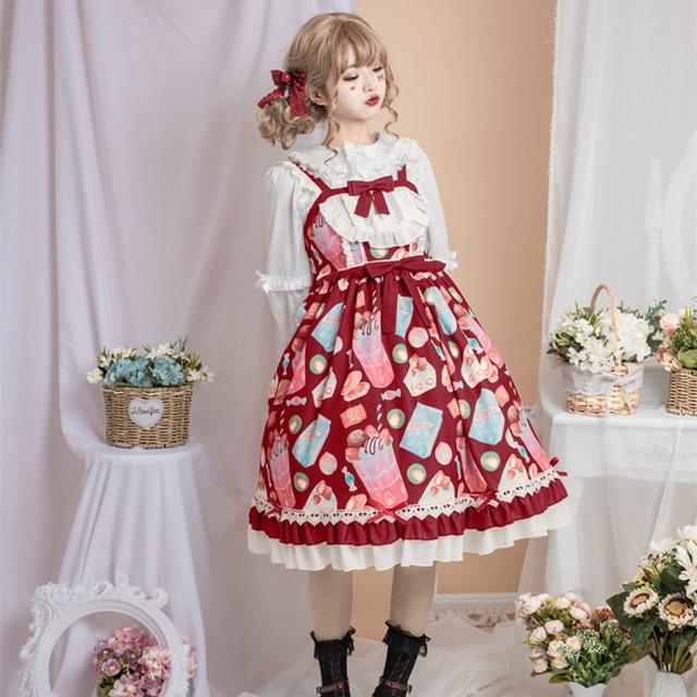Фото японское платье лолиты винтажное кружевное с бантом милое принтом цена