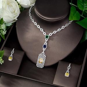 Image 1 - HIBRIDE High Quality Cubic Zirconia Bridal Jewelry Set Square Shape Nigerian Jewelry Set for Women Gift Collier Mariage N 1086