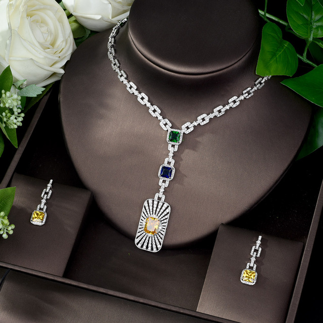 HIBRIDE High Quality Cubic Zirconia Bridal Jewelry Set Square Shape Nigerian Jewelry Set for Women Gift Collier Mariage N 1086