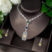 Hibride alta qualidade zircônia cúbica conjunto de jóias de noiva forma quadrada conjunto de jóias nigerianas para o presente feminino collier mariage N 1086
