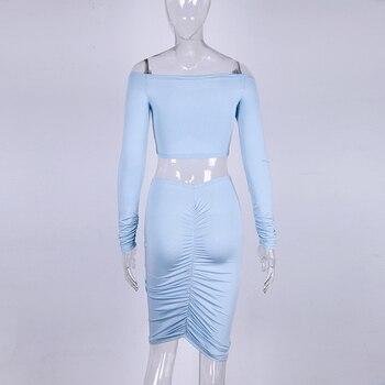 Fleur Wood Smocking Tube Top Hip Skirt Set Off-the-Shoulder Short Tops Long Sleeve Slash Neck Slim Fit Kit Sexy Women Clothing 8