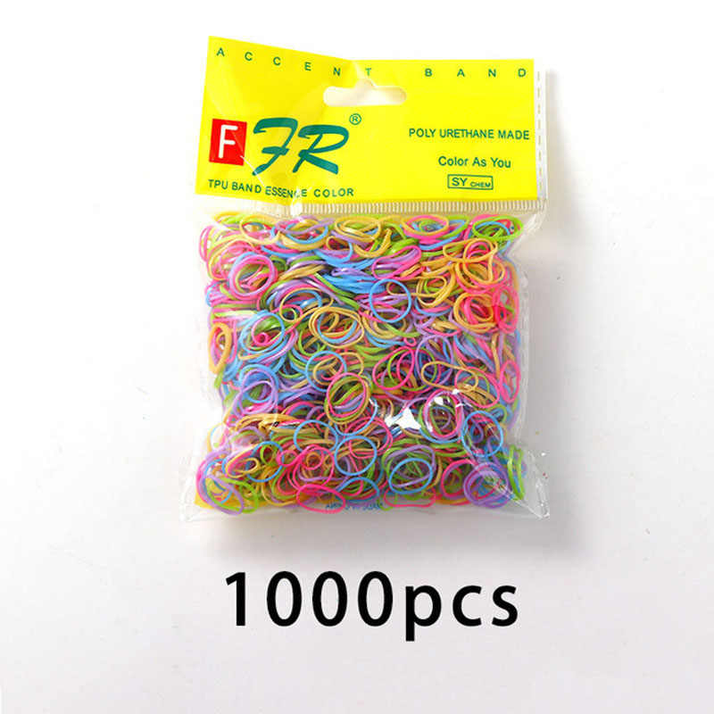 1000PCS Cute Girls Colourful Ring Disposable Elastic Hair Bands Ponytail Holder Rubber Band Scrunchies Kids Hair Accessories