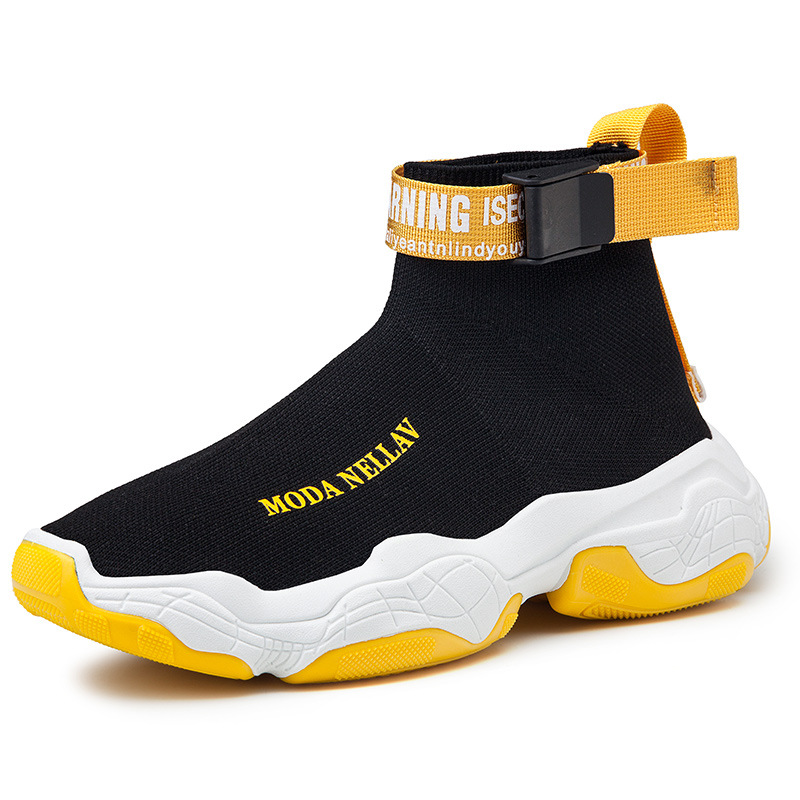 2019 New Sport Athletic Running Shoes Men Brand Sock Sneakers Lace-Up Breathable Jogging Trainers Male Boy Cool Walking Footwear 36
