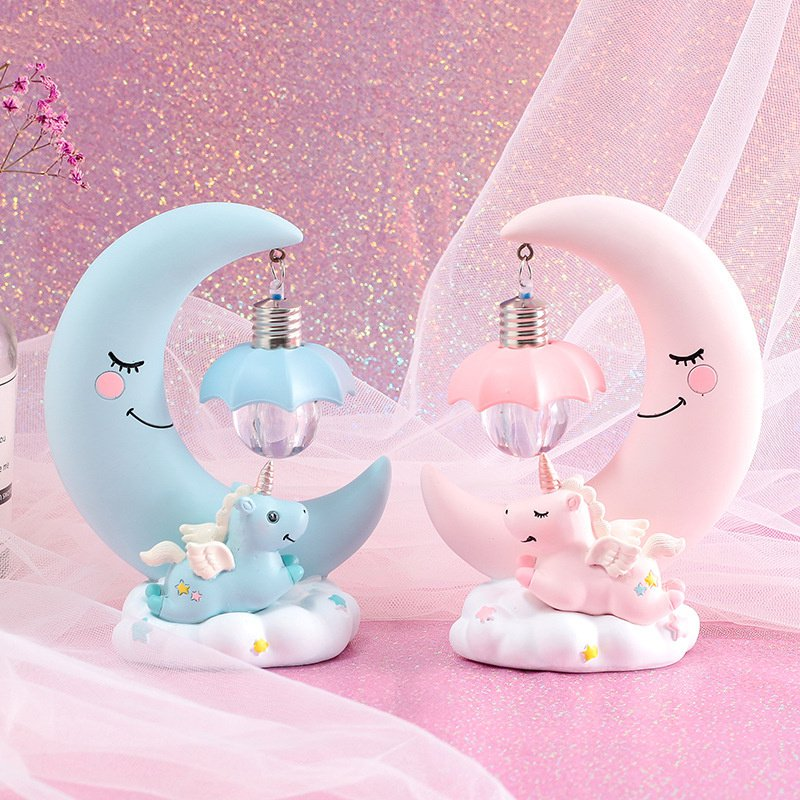 Resin Moon Unicorn LED Night Light Cartoon Baby Nursery Lamp Breathing Children Toy Christmas Gift Kids Room Craft Table Light