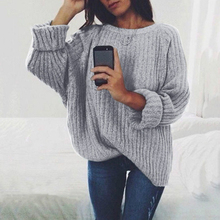 Autumn And Winter New Solid Color Round Neck Casual Sweater Ladies Loose Pullover