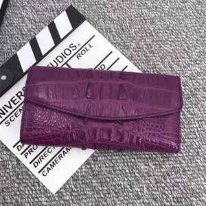 Image 4 - Authentic Alligator Leather Womens Large Card Purse Genuine Crocodile Skin Lady Long Organizer Trifold Wallet Female Clutch Bag